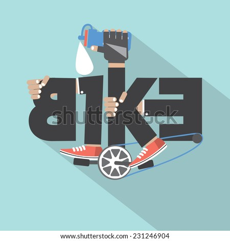 Bicycle Typography Design Vector Illustration - stock vector
