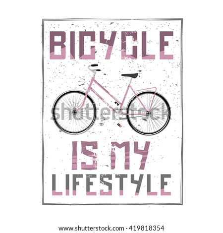 """Bicycle vintage background. """"bicycle is my lifestyle"""" phrase with cartoon high detailed bike. Stock vector. - stock vector"""