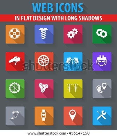 Bicycle web icons in flat design with long shadows