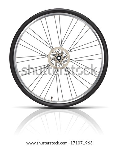 Bicycle wheel. Shadows and reflections are in the separate layers.