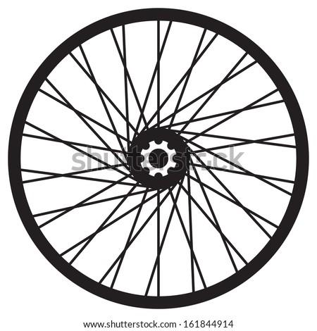 Bicycle wheel, vector format - stock vector