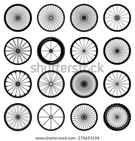 bicycle wheels set on white background vector illustration - stock vector