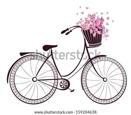 Bicycle with a basket full of flowers and butterflies - stock vector