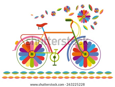 bicycle with colorful flowers as wheels - stock vector