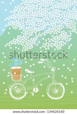 Bicycle with flowerpot and white blooming tree - stock vector