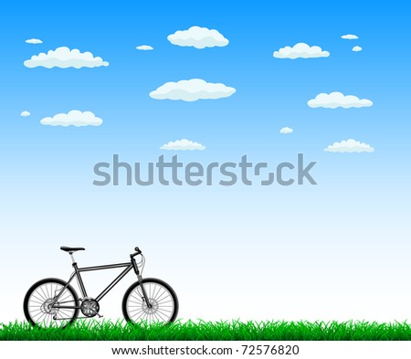 bicycle with green grass - stock vector