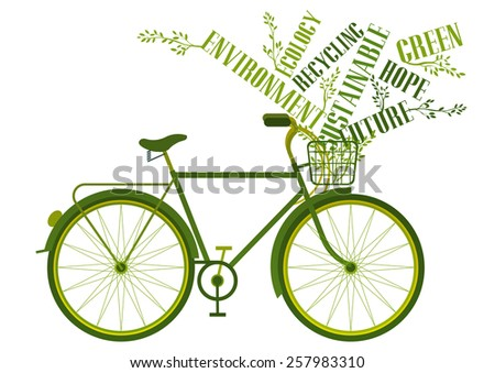 bicycle with green words in its basket - stock vector
