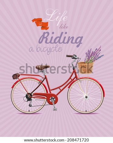 Bicycle with lavender in basket. Poster in vintage style. Vector illustration.  - stock vector