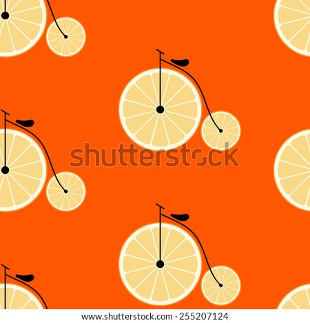 bicycle with wheels in the form of fruit. seamless vector pattern. flat design   - stock vector