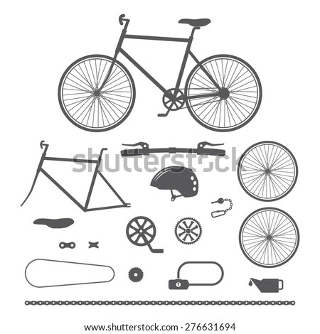 Bicycles, bike accessories icons - stock vector