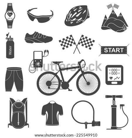 Bicycles. Isolated vector bike accessories set. Spare parts for bicycle vector big icons set. Stock Vector. - stock vector