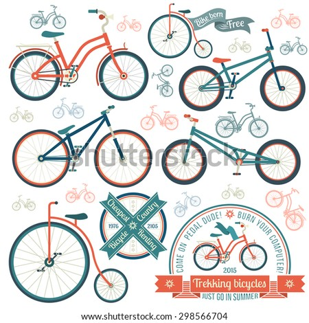 Bicycles of various types - trekking, vintage, street, bmx. Vintage logo with a bicycle. - stock vector