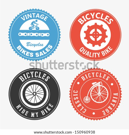 bicycles seals over white background vector illustration - stock vector