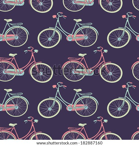 Bicycles seamless pattern - stock vector