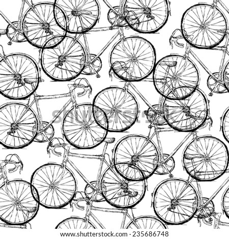 Bicycles. Seamless Pattern - stock vector