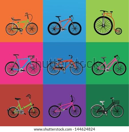 bicycles (Set of 9 bikes ) - stock vector