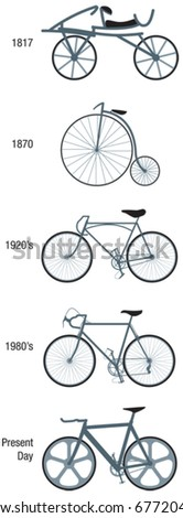 Bicycles through the ages vector illustrations - stock vector