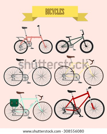 bicycles vector set