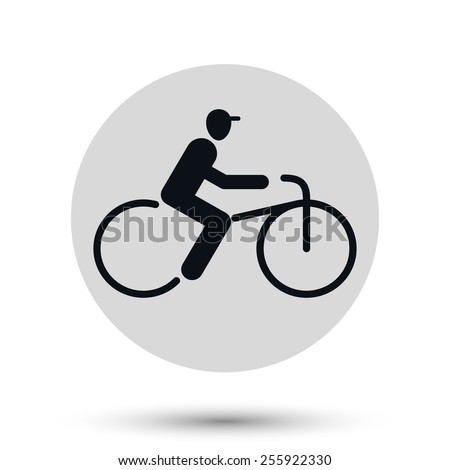 Bicyclist  icon, transport vector symbol - stock vector