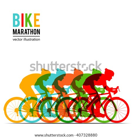 Bicyclist riding bicycle group marathon colorful background silhouette vector illustration. - stock vector