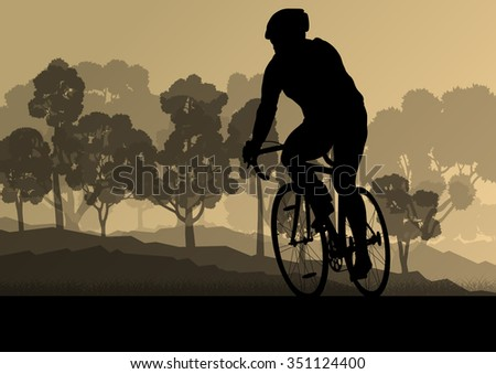 Bicyclist riding bicycle marathon background silhouette vector illustration landscape - stock vector
