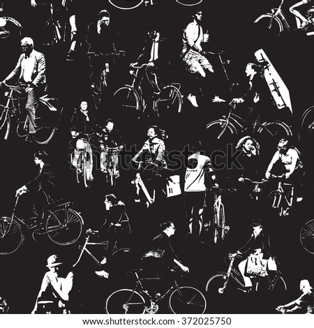 Bicyclists Repeating Pattern - stock vector