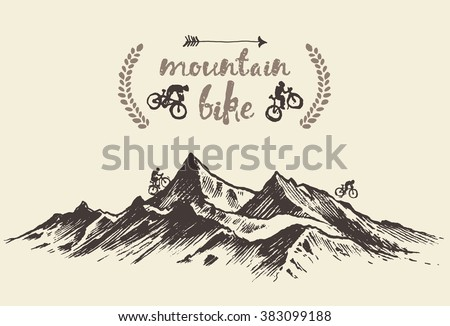 Bicyclists riding in mountains, hand drawn mountain bike poster, vector illustration