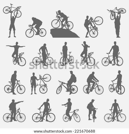 bicyclists silhouettes set - stock vector