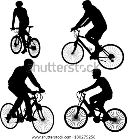 bicyclists silhouettes - vector - stock vector