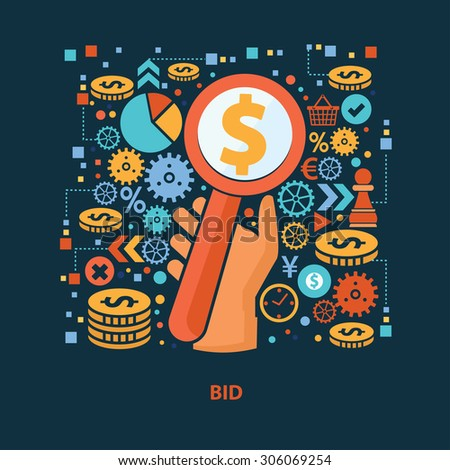 Bid concept design on dark background,clean vector - stock vector