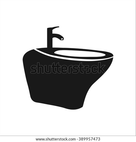 Bidet simple icon on colorful white  background