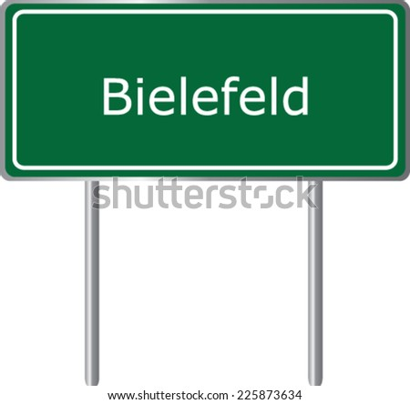 Bielefeld, Germany, road sign green vector illustration, road table - stock vector