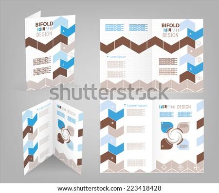 bifold brochure template - stock vector