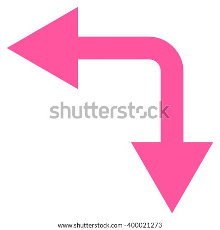 Bifurcation Arrow Left Down vector icon. Style is flat icon symbol, pink color, white background.