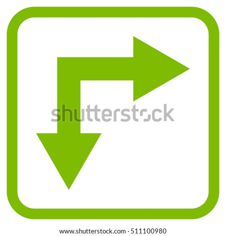 Bifurcation Arrow Right Down eco green vector icon. Image style is a flat pictogram symbol inside a rounded square frame on a white background.