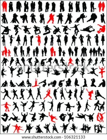 Big and different set of people silhouettes 4, vector