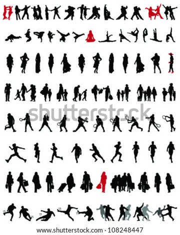 Big and different set of people silhouettes 5, vector