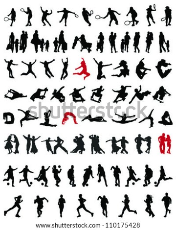Big and different set of people silhouettes 6, vector
