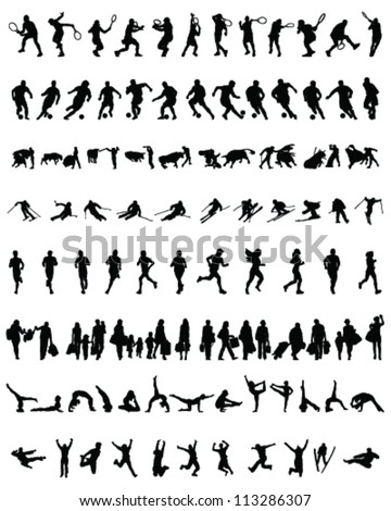 Big and different set of people silhouettes 8, vector