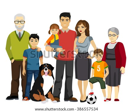 Big and Happy Family vector illustration. Big Family together, Family illustration, Family happy, Family smile, Family with dog, Family concept, Family isolated. - stock vector