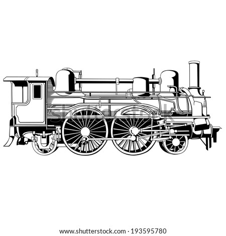 big and old rapid locomotive for design - stock vector