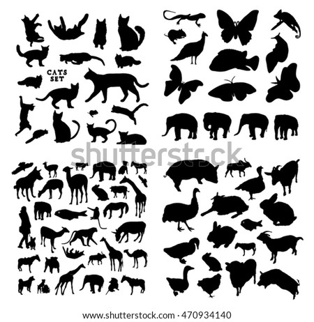 Big animals silhouettes set