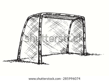 Big athletic foot ball goalpost on green grass court. Vector monochrome freehand linear ink drawn backdrop sketchy in art scribble antique style pen on paper with space for text on sky - stock vector