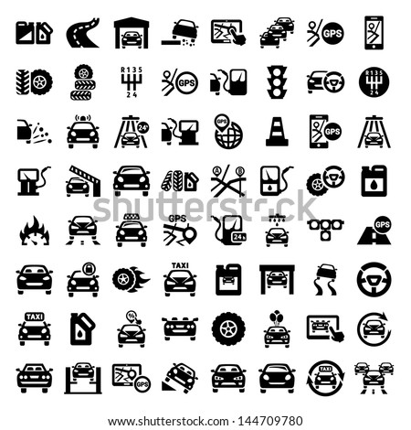 Big Auto Icons Set Created For Mobile, Web And Applications. - stock vector