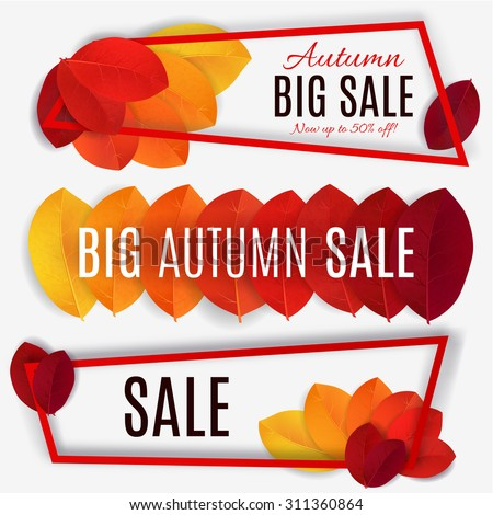 Big Autumn sale. Fall sale design. Three banners collection. Can be used for flyers, banners or posters. Vector illustration with colorful autumn leaves  - stock vector