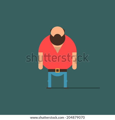 Big bald guy, with beard. Minimal character in red shirt, belt, shoes, and blue pants. Flat design character, for poster, flyer, cover, brochure. Easy to edit. Vector illustration - EPS10. - stock vector