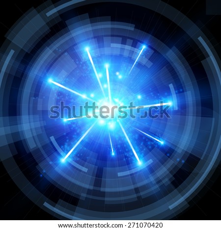 big bang with blue sparks and radial abstract tunnel - technology background. Vector illustration / Eps10 - stock vector