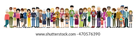 Big banner of people. Adults and children. Men and women. Vector