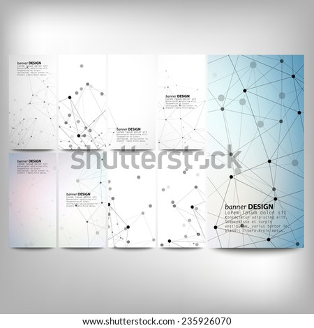 Big banners set, science backgrounds, molecule and communication backgrounds. Conceptual vector design templates. Modern abstract banner design, business design and website templates. - stock vector