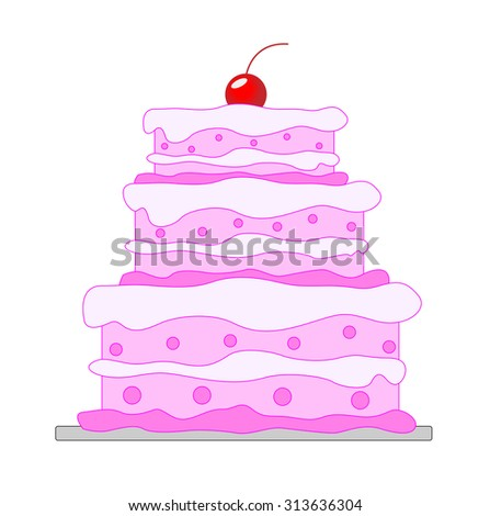 big beautiful cake, vector illustration